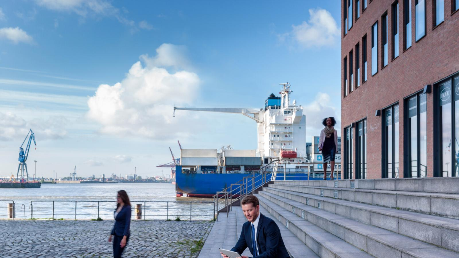 Business-Situation im Hafen